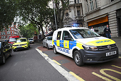 © Licensed to London News Pictures. 01/06/2018. London, UK. Emergency services at the scene at Holburn tube station in London where two knives were recovered after a man was arrested  and suspect package was found. The station has been closed. Photo credit: Tom Nicholson/LNP