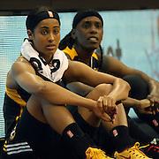 Skylar Diggins, Tulsa Shock, waits to be subbed in during the Connecticut Sun Vs Tulsa Shock WNBA regular season game at Mohegan Sun Arena, Uncasville, Connecticut, USA. 3rd July 2014. Photo Tim Clayton