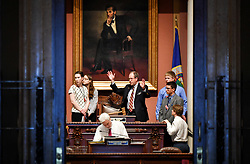 April 24, 2017 - St Paul, Minnesota, USA - A new crop of high school House pages got a tour from Thomas Holien, the Minnesota House of Representatives educational programs coordinator.  Every week a group of selected high school juniors participates in the program considered one of the best in the US.  It is open to students from around the state.  Applications and information can be found here:  http://www.house.leg.state.mn.us/edprog/over2p.htm     ] GLEN STUBBE • glen.stubbe@startribune.com Monday April 24, 2017 (Credit Image: © Glen Stubbe/Minneapolis Star Tribune via ZUMA Wire)