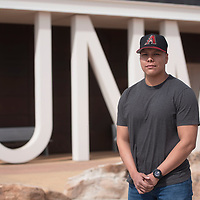University of New Mexico-Gallup criminal justice student Shaun Yazzie poses for a portrait on campus Monday in Gallup. Yazzie is a recent recipient of the Chance Harvey Memorial Scholarship.