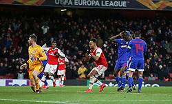 Pierre-Emerick Aubameyang of Arsenal agonises over a late miss - Mandatory by-line: Arron Gent/JMP - 27/02/2020 - FOOTBALL - Emirates Stadium - London, England - Arsenal v Olympiacos - UEFA Europa League Round of 32 second leg