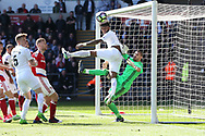 Leroy Fer of Swansea city (c) is denied by Middlesbrough goalkeeper Victor Valdes late in the game. Premier league match, Swansea city v Middlesbrough at the Liberty Stadium in Swansea, South Wales on Sunday 2nd April 2017.<br /> pic by Andrew Orchard,