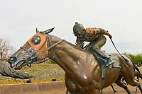 Bronze horse racing sculpture by Gwen Reardon, Thoroughbred Park, Lexington, Kentucky USA