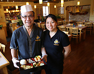 Owners On Le and wife Nhu Bui-Le. Monster Sushi is Morristown's newest restaurant specializing in sushi, sashimi, and other Japanese cuisine. Monster Sushi is located at 5 Pine St., Morristown, NJ. Tuesday, Oct. 21, 2015.  Special to NJ Press Media/Karen Mancinelli/Daily Record<br /> MOR 1028 TABLE Monster Sushi Morristown