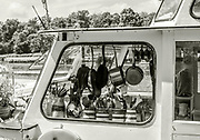Henley on Thames, England, United Kingdom, Friday, 02/07/2021, Cruisers Galley, Hanging Pans, Jugs holding kitchen utemsiles   Henley Women's Regatta, Henley Reach,  [Peter Spurrier/Intersport Images],