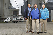 SHOT 10/29/18 9:47:41 AM - Sunrise Cooperative is a leading agricultural and energy cooperative based in Fremont, Ohio with members spanning from the Ohio River to Lake Erie. Sunrise is 100-percent farmer-owned and was formed through the merger of Trupointe Cooperative and Sunrise Cooperative on September 1, 2016. Photographed at the Clyde, Ohio grain elevator was George D. Secor President / CEO and John Lowry<br /> Chairman of the Board of Directors with  CoBank RM Gary Weidenborner. (Photo by Marc Piscotty © 2018)