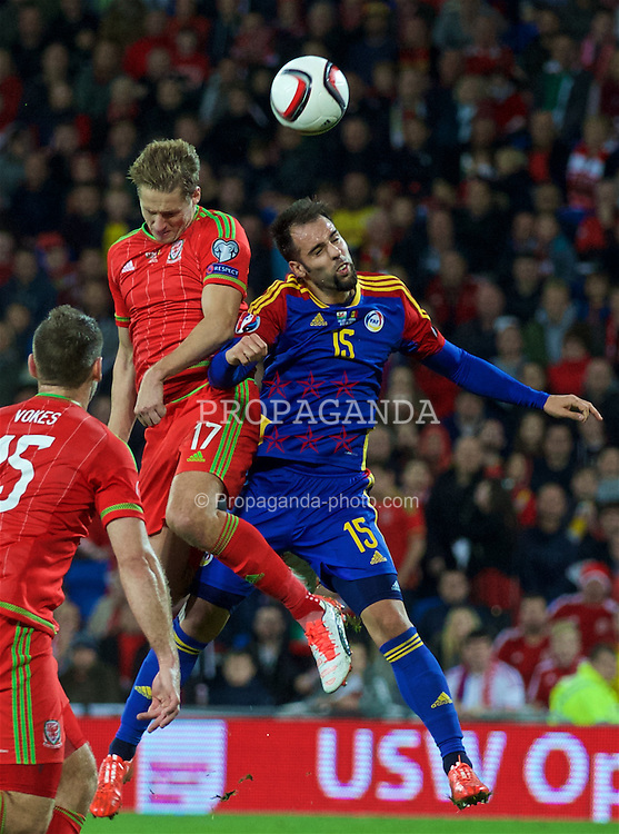 CARDIFF, WALES - Tuesday, October 13, 2015: Wales' David Edwards in action against Andorra'a Adrian Rodrigues Goncalves during the UEFA Euro 2016 qualifying Group B match at the Cardiff City Stadium. (Pic by David Rawcliffe/Propaganda)