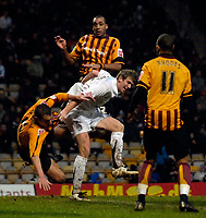 Photo: Jed Wee/Sportsbeat Images.<br /> Bradford City v Hereford United. Coca Cola League 2. 29/12/2007.<br /> <br /> Hereford's Dean Beckwith (white) scores their second goal with a header.