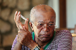 Former Haiti Prime Minister Jean Marie Cherestal breaks down on October 11, 2016, as he talks about the damage Hurricane Matthew brought to the area and also to his beloved boutique hotel Le Relais du Boucanier in Port Salut, Haiti, on October 11, 2016. Photo by Patrick Farrell/Miami Herald/TNS/ABACAPRESS.COM