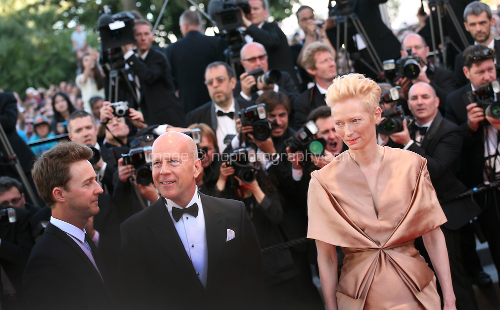 Actors Edward Norton, Bruce Willis and Actress Tilda Swinton at the gala screening of the film Moonrise Kingdom at the 65th Cannes Film Festival. Wednesday 16th May 2012, the red carpet at Palais Des Festivals in Cannes, France.