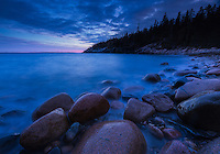 Long exposure during blue hour, just after sunset at Hunter's Beach, Acadia National Park, Maine. (2 stop grad ND)