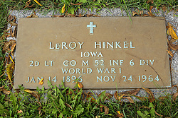 31 August 2017:   Veterans graves in Park Hill Cemetery in eastern McLean County.<br /> <br /> LeRoy Hinkel Iowa 2d Lieutenant Co M 52 INF 6 DIV World War I  Jan 14 1896 Nov 24 1964