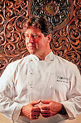 """Celebrity chef, """"New World Cuisine"""" guru, and cookbook author Norman Van Aken photographed in his restaurant, Norman's, in Miami's Coral Gables"""