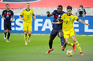 Marcus Thuram (FRA) battled for the ball with Mikael Lustig (SWE) during the UEFA Nations League football match between France and Sweden on November 17, 2020 at Stade de France in Saint-Denis, France - Photo Stephane Allaman / ProSportsImages / DPPI
