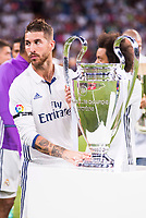 Real Madrid's player Sergio Ramos with the Europe Supercup during the XXXVII Santiago Bernabeu Trophy in Madrid. August 16, Spain. 2016. (ALTERPHOTOS/BorjaB.Hojas)