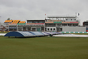 Covers on and drizzle in the air for Day 3 of the Specsavers County Champ Div 2 match between Leicestershire County Cricket Club and Middlesex County Cricket Club at the Fischer County Ground, Grace Road, Leicester, United Kingdom on 11 June 2019. during the Specsavers County Champ Div 2 match between Leicestershire County Cricket Club and Middlesex County Cricket Club at the Fischer County Ground, Grace Road, Leicester, United Kingdom on 12 June 2019.