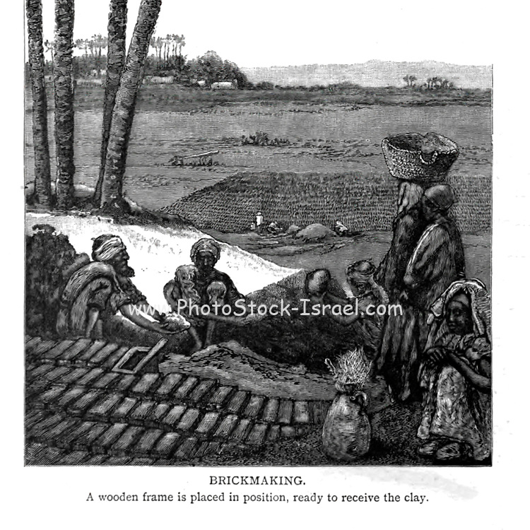 Clay brick making, Egypt Wood engraving of from 'Picturesque Palestine, Sinai and Egypt' by Wilson, Charles William, Sir, 1836-1905; Lane-Poole, Stanley, 1854-1931 Volume 4. Published in 1884 by J. S. Virtue and Co, London