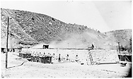 """Durango coke ovens on the west side of the Animas River.<br /> D&RG  Durango, CO  ca. 1900-1910<br /> In book """"Durango: Always a Railroad Town (1st ed.)"""" page 86"""