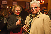 LUCY ELVIN; TOD MCEWEN, The Omnivore hosts the third Hatchet  Job of the Year Award. Sponsored by the Fish Society.  The Coach and Horses. Greek st. Soho. London. 11 February 2014.