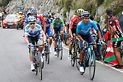 Miguel Angel Lopez (COL, Astana Pro Team) and Nairo Quintana (COL, Movistar during the 73th Edition of the 2018 Tour of Spain, Vuelta Espana 2018, Stage 15 cycling race, 15th stage Ribera de Arriba - Lagos de Covadonga 178,2 km on September 9, 2018 in Spain - Photo Luis Angel Gomez/ BettiniPhoto / ProSportsImages / DPPI