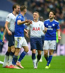 Kieran Trippier of Tottenham Hotspur reacts towards Joe Ralls of Cardiff City after his tackle on Lucas of Tottenham Hotspur - Mandatory by-line: Alex James/JMP - 06/10/2018 - FOOTBALL - Wembley Stadium - London, England - Tottenham Hotspur v Cardiff City - Premier League