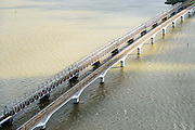 Nederland, Zuid-Holland, Hollandsch Diep, 23-10-2013; Tweesporige spoorbrug voor reguliere trein en de tweesporige brug voor de HSL over het Hollandsch Diep.<br /> Double-track railway for regular trains and double-track bridge for the HST over the Hollandsch Diep.<br /> luchtfoto (toeslag op standaard tarieven);<br /> aerial photo (additional fee required);<br /> copyright foto/photo Siebe Swart.