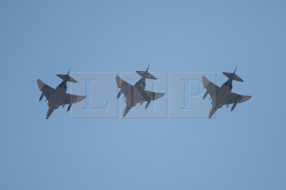 "© licensed to London News Pictures. London, UK 28/08/2011. Three Turkish Fighter Jets on a test flight above the city of Eskisehir on 28/08/11 for their part in Victory Day celebrations. Today the Syrian military has said it shot down a F-4 Phantom Turkish plane ""flying in airspace over Syrian waters"". Two crew members are being searched over Mediterranean sea. Photo credit: Tolga Akmen/LNP"