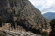The Temple of Apollo in Delphi, Greece.  Note. the pillars were in sections made to be flexible in earthquakes.  Photograph by Dennis Brack