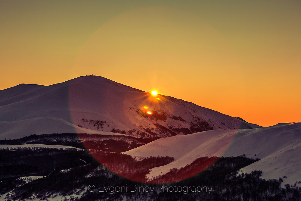 Winter sunrise in Balkan Mountains