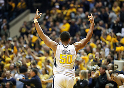 Jan 9, 2018; Morgantown, WV, USA; West Virginia Mountaineers forward Sagaba Konate (50) celebrates late in the second half against the Baylor Bears at WVU Coliseum. Mandatory Credit: Ben Queen-USA TODAY Sports