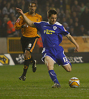 Photo: Steve Bond/Sportsbeat Images.<br /> Wolverhampton Wanderers v Leicester City. Coca Cola Championship. 22/12/2007. Matty Fryatt gets a shot in for Leicester