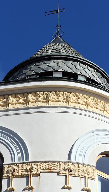 Art nouveau detail on a building in Alesund. Ålesund, Møre og Romsdal, Norway.