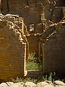 McElmo style masonry, Kin Kletso Ruin dating from about 1059 AD to 1178 AD, Chaco Culture National Historical Park, New Mexico.