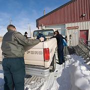 USGS polar bear team preparing for a day of polar bear research. Kaktovik, Alaska