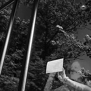 Gloria Kennedy, 16, of Pennsylvania, traces loop animation using a window at the Deroy Center for Film Studies at Interlochen Center for the Arts in interlochen, Michigan.