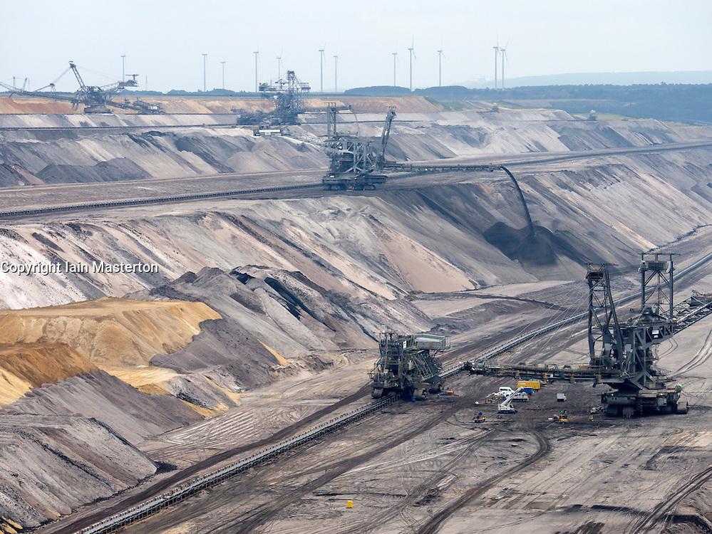 Large excavation machines working in RWE open-cast brown or lignite coal mine at Garzweiler in Northrhine Westfallia in Germany