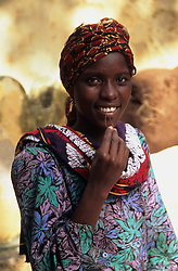 Young woman in traditional head scarf on the island of Lamu, Kenya, Africa
