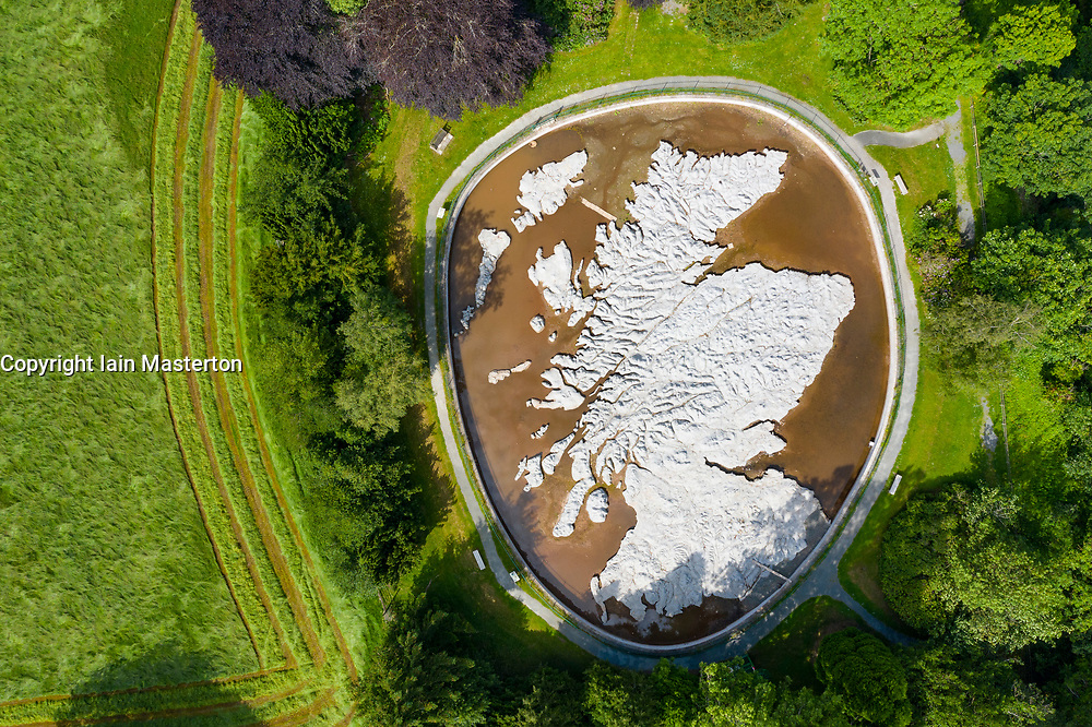 Aerial view of Great Polish Map of Scotland, Eddleston, UK.