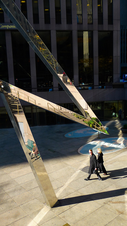 Sun Triangle sculpture in front of the McGraw-Hill building in New York City.