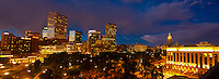 Panoramic view of downtown skyline with Colorado State Capitol Building on right, Denver, Colorado USA.