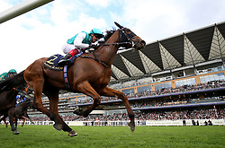 Monarchs Glen ridden by Frankie Dettori coming home to win the Wolferton Stakes during day one of Royal Ascot at Ascot Racecourse.