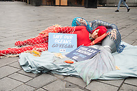 Giant PETA Fish Lobster to Proclaim Sea Life, Not Seafood. Protesters 'Caught' in Fishing Nets Will Urge Passers-By to Go Vegan. Leicester Square, London.