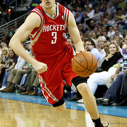 April 6, 2011; New Orleans, LA, USA; Houston Rockets point guard Goran Dragic (3) against the New Orleans Hornets during the second half at the New Orleans Arena. The Hornets defeated the Rockets 101-93 and clinched a playoff spot with the victory.   Mandatory Credit: Derick E. Hingle-US PRESSWIRE