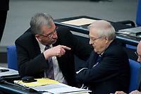 17 MAR 2010, BERLIN/GERMANY:<br /> Ernst Burgbacher (L), FDP, parl. Staatssekretaer im Bundeswirtschaftsministerium, und Rainer Bruederle (R), FDP, Bundeswirtschaftsminister, im Gespraech, Bundestagsdebatte, Haushaltsberatungen Etat des Bundeskanzleramtes, Plenum, Deutscher Bundestag<br /> IMAGE: 20100317-01-091<br /> KEYWORDS: Sitzung, Debatte, Rainer Brüderle, Gespräch