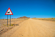 Animal warning road sign in the Namib Desert, Namibia, Africa