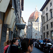 FLORENCE, ITALY - OCTOBER 30: <br /> A street scene showing Florence's Cathedral, Basilica di Santa Maria del Fiore, known as Duomo in Florence, Italy. The Duomo is the main church of the city of Florence. Construction was started in 1296 in the Gothic style with the structure completed in 1436. The famous dome was designed by Arnolfo di Cambio and engineered by Filippo Brunelleschi. Florence, Italy, 30th October 2017. Photo by Tim Clayton/Corbis via Getty Images)