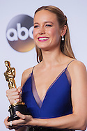 "88th Academy Awards press room.<br /> Actress in a leading role winner Brie Larson for the film ""Room."""