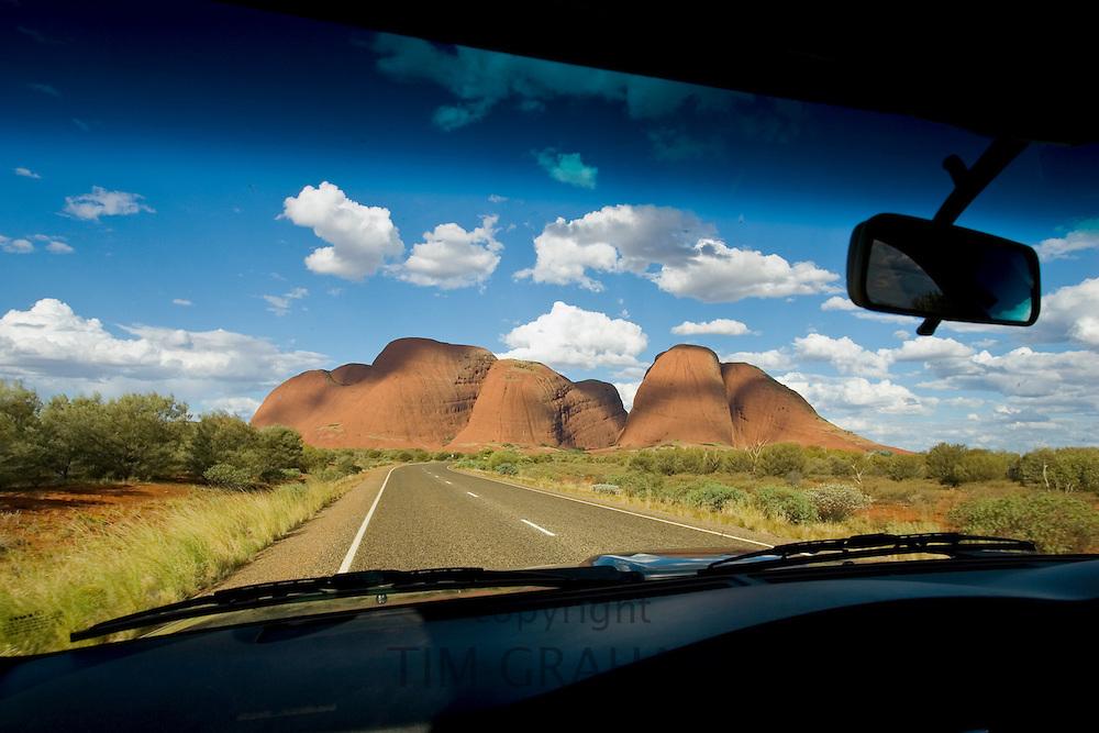 The Olgas, Kata Tjuta seen from inside a car, Red Centre, Australia