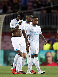 (l-r) Nicolas Isimat-Mirin of PSV, Steven Bergwijn of PSV, Pablo Rosario of PSV during the UEFA Champions League group B match between FC Barcelona and PSV Eindhoven at the Camp Nou stadium on September 18, 2018 in Barcelona, Spain.