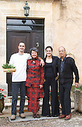 Geneviève Ponson, with husband and children Stephanie and Olivier Mas de Perry, Mas Nicot. Terrasses de Larzac. Languedoc. Owner winemaker. France. Europe.